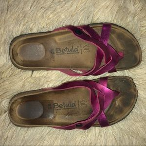 Authentic betula BIRKENSTOCK pink matellic slides